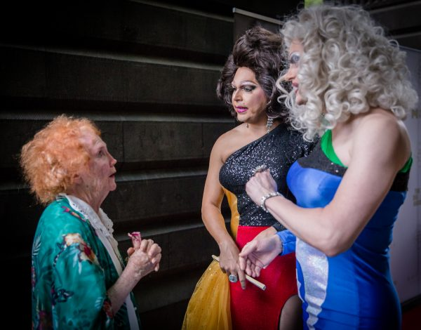 Red Carpet hosts Marzi Panne and Miss Ellaneous chat with a guest. Image by Bryony Jackson.