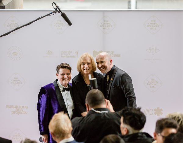 Ro Allen, Brenda Appleton and Tristan Meecham on the red carpet. Image by Bryony Jackson.
