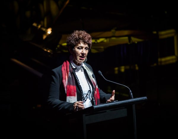 Boon Wurrung Elder Aunty Carolyn Briggs welcomes guests to country at The Coming Back Out Ball. Photo by Bryony Jackson.